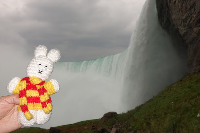 Ko Nientje bij de Niagara Falls (Canada)