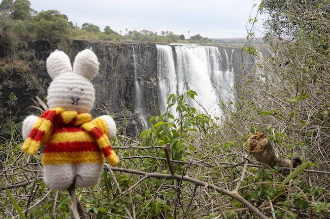 Ko Nientje bij de Victoriawatervallen, Zambia